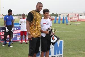 Cam Newton with QB Skill Challenge Champion